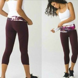 Lululemon Wunder Under HR Crop Bordeaux Drama *LE*